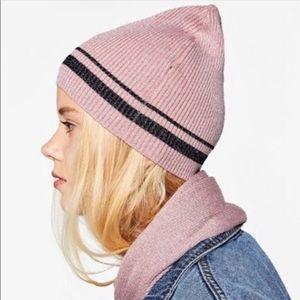 Zara Pink & Black Metallic Beanie Hat. Lightweight
